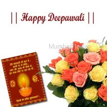 Bunch of 10  mixed color roses nicely wrapped with seasonal fillers and deepawali greeting card.