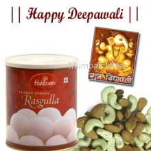 Hamper includes 1kg rasgulla and Pack of 250gm dryfruits with a diwali greeting card.