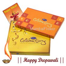 Hamper includes 1 box of Small cadbury celebration and  1 box of Big cadbury celebrations and  a diwali greeting card.