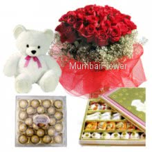 Bunch of 30 Red Roses, Pack of Half Kg. Mixed Mithai, Ferrero Rocher 24pcs and 6 Inch Teddy.