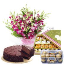 Bunch Of 10 Purple Orchid, 1 kg Chocolate Truffle Cake, Pack of Half Kg. Mixed Mithai, and Ferrero Rocher 16 Pc