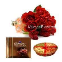 Bunch of 12 Red Roses, Half kg. Dryfruit and Big Cadbury Celebration Box