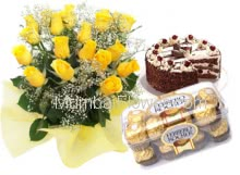 Bunch of 20 Yellow Roses , 16 Pcs Ferrero Rocher Box and Half kg. Black Forest Cake