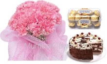 Bunch of 20 Carnations , Half Kg. Black Forest Cake and  Ferrero Rocher ( 16 Pcs ) Box
