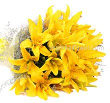 Bouquet of 10 Yellow Lilies nicely decorated with fillers and Ribbons. Please note : we may substitute color in case of unavailibility