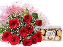 Bunch of 12 Red Roses nicely decorated with filler and ribbons with 16pc Fererro Rocher Box