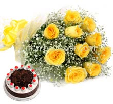 Bunch of 12 Yellow Roses nicely decorated with fillers and ribbons with Half Kg. High Quality Black Forest Cake.