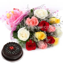 Bunch of 12 Mixed Color Roses nicely decorated with fillers and ribbons, and Half Kg. High Quality Chocolate Truffle Cake.