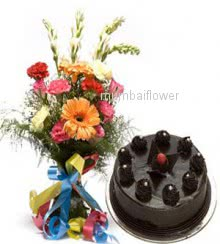 Bunch of 20 Mixed flowers and Half kg. Chocolate Cake