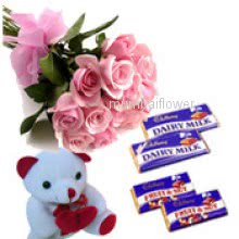 Bunch of 10 pink Roses and 6 inch Teddy and 4pc Cadbury Chocolate