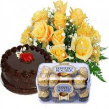 Bunch of 10 Yellow Roses and Half kg. Chocolate Truffle cake and 16pc Ferrero Rocher Chocolate