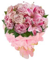 Bunch of 10 Pink Roses, 10 Pink Carnation and 3 Pink Lilies nicely decorated with fillers and ribbons