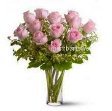 Glass Vase with 20 Pink Roses nicely decorated with fillers and Greens