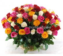 Basket of 60 Mixed Roses nicely decorated with fillers and Greens