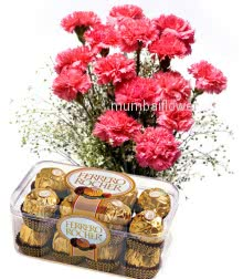 Bunch of 15 Pink Carnation nicely decorated with fillers and ribbons and 16pc Ferrero Rocher Chocolate