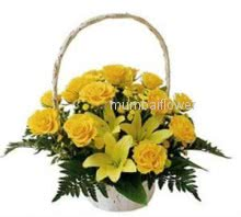 Basket of 20 Yellow Roses and 3 Yellow Lilies nicely decorated with fillers and ribbons, Congratulation Basket