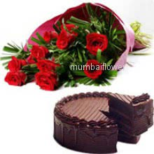 Bunch of 12 Red Roses and Half kg.Chocolate Truffle cake