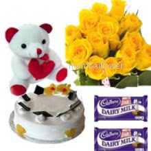 Bunch of 12 Yellow Roses, 6 inch Teddy , 5pc Chocolate rs.25 each and Half kg. pineapple cake