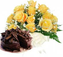 Bunch of 12 Yellow Roses and half kg.Chocolate Truffle Cake