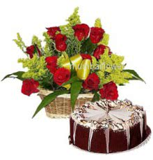 Basket of 20 Red Roses with Half kg.Black forest cake