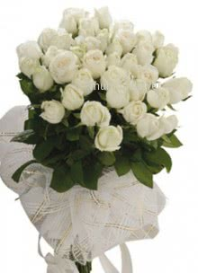 Bunch of 30 White Roses nicely decorated with fillers and ribbon... Please note: This item is not available all the time.