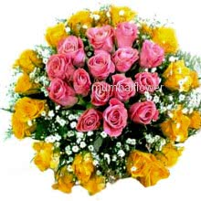 Bunch of 40 Pink and Yellow Roses nicely decorated with fillers and ribbons