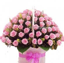 Basket of 75 Pink Roses nicely decorated with fillers and ribbons
