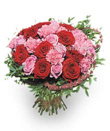 Bunch of 15 pink Carnation and 15 red Roses nicely decorated