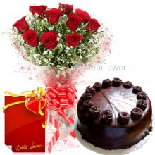 Bunch of 12 Red Roses and Half kg. Chocolate Truffle Cake with 1 Simple Greeting card