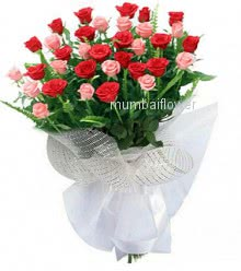 Bunch of 30 Pink and Red Roses nicely decorated with fillers and ribbons