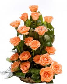 Arrangement of 20 Orange Roses nicely decorated with fillers and greens