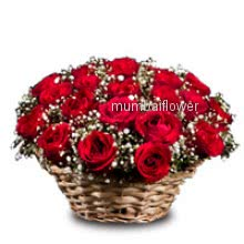 Basket of 30 Red Roses nicely decorated with fillers and greens
