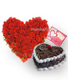 Heart Shape Arrangement of 60 Red Roses with Half KG. Heart Shape Black Forest cake and a Greeting card