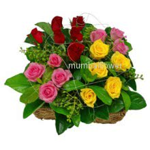 Basket of 20 Mixed colored roses nicely decorated with fillers and greens
