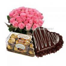 Bunch of 20 Pink Roses with 1 KG.Heart Shape Chocolate Truffle cake and 16pc Ferroro Rocher Chocolate