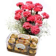 Bunch of 12 Pink carnation nicely decorated with 16pc Ferroro Rocher Chocolate
