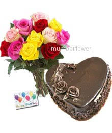 Bunch of 12 Mixed colored roses and half kg.Heart shape chocolate cake with simple greeting card