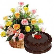 Basket of 20 Pink and Yellow roses nicely decorated with Half kg.Chocolate Truffle Cake