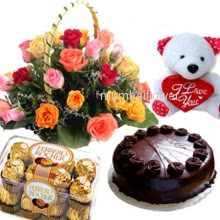 Basket of 20 mixed roses with 16pc Ferroro Rocher Chocolate with Half kg.chocolate truffle cake and 6 inch teddy