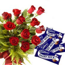 Bunch of 12 Red Roses nicely decorated with 5pc cadbury