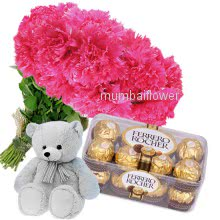 Bunch 25 Pink Carnation nicely decorated with 16pc Ferroro Rocher Chocolate and 12 inch teddy