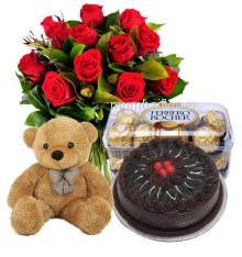 Bunch 12 Red Roses nicely decorated with 16pc Ferroro Rocher Chocolate and 12 inch teddy with Half kg. Chocolate cake