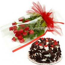 Bunch of 12 Red Roses nicely decorated with half kg. Black forest cake