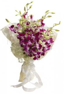 Bunch of 15 purple orchids nicely decorated with fillers and ribbons