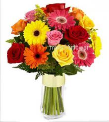 Bunch of 20 mixed roses and gerberas nicely decorated with fillers and ribbons