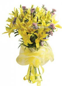 Bunch of 10 Yellow Oriental lilies nicely decorated with fillers and ribbons