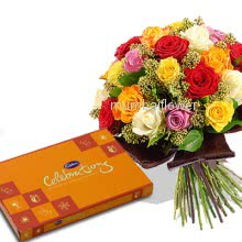 Bunch of 25 Mixed colored roses nicely decorated with small cadbury celebration