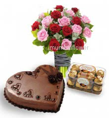Bunch of 30 Pink and red roses nicely decorated with 16pc Ferroro Rocher Chocolate and 1 kg.heart shape chocolate truffle cake