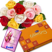 Bunch of 12 mixed colored roses nicely decorated with small cadbury celebration and simple greeting card