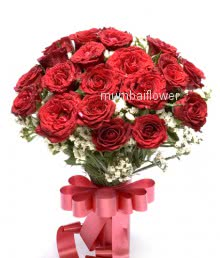 Bunch of 25 red roses nicely decorated with fillers and ribbons